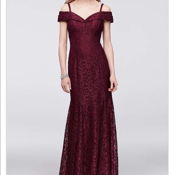 6f4be57910 Dresses   Skirts - Cold-Shoulder Glitter Burgundy Lace Mermaid Dress